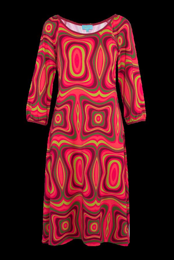 Flared Dress Puffed Sleeves Wave (LASU 2121) Dresses Image
